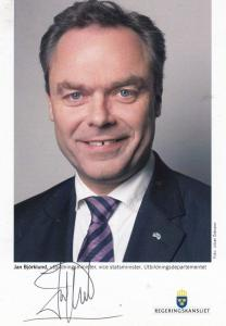 Jan Bjorklund Swedish MP Liberal Peoples Party Politician Hand Signed Photo