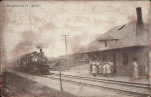 Monponsett MA RR Train Depot Station c1910 Postcard