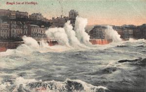Rough Sea Hastings 1906 Postcard