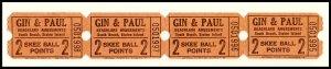 4 Beachland Amusements Skee Ball Tickets, South Beach, Staten Island,New York/NY