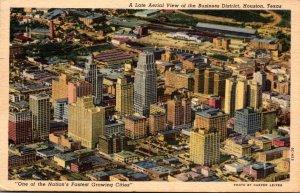 Texas Houston Business District Aerial View 1957 Curteich