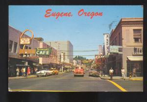 EUGENE OREGON DOWNTOWN STREET SCENE 1950's CARS VINTAGE POSTCARD STORES