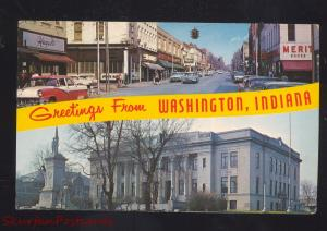 WASHINGTON INDIANA DOWNTOWN STREET SCENE 1950's CARS VINTAGE POSTCARD