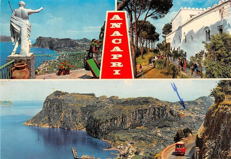 Italy Anacapri Statue Promenade General view Harbour Boats