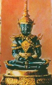 BANGKOK, Thailand, 1940-60s; Emerald Buddha in Summer Suit, Wat Phar Keo, Roy...