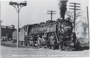 RPPC Maine Central #701 4-6-4 Steam Locomotive, Kodak Paper Real Photo.