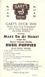 Orlando Florida USA Gary's Duck Inn Old Vintage Antique Postcard Post Cards  ...
