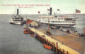 New Harbor NY New London Steamboat at Block Island RI Postcard