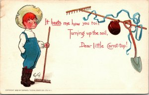 1903 TUCK POSTCARD IT BEETS ME HOW YOU TOIL TURNING UP SOIL,DEAR CARROT TOP