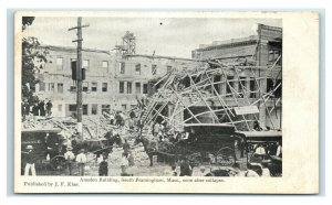 Postcard Amsden Building, South Framingham MA Soon After Collapse Y65