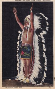 WISCONSIN DELLS, Wisconsin, 1930-1940's; Sunrise Call, Stand Rock Indian Cere...