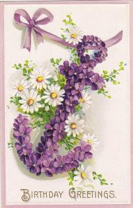 Birthday Anchor With Purple and White Flowers