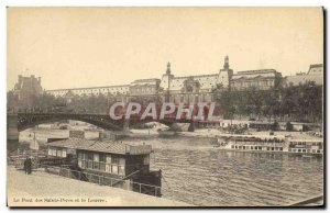 Old Postcard Paris Pont des Saints Peres and the Louvre Peniche boat