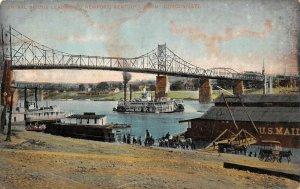 LPO45  Cincinnati Bridge Riverboats Ohio Postcard