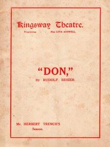 Don Herbert Trench Rudolf Besier Charles Quartermaine Kingsway Theatre Programme