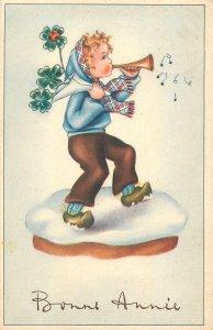 Postcard drawings bonne annee