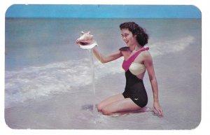 Atlantic City NJ Sea Nymph Sea Shell Pretty Woman Bathing Beauty Beach Postcard