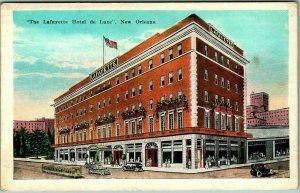 New Orleans, Louisiana Postcard The Lafayette Hotel de Luxe Street View c1930s