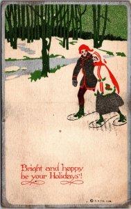 Vintage Christmas Greeting -  HOLIDAY ICE SKATING - LAKE SCENE - POSTCARD - PC