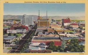 Arizona Downtown Phoenix Saltriver Mountains South Of City Curteich