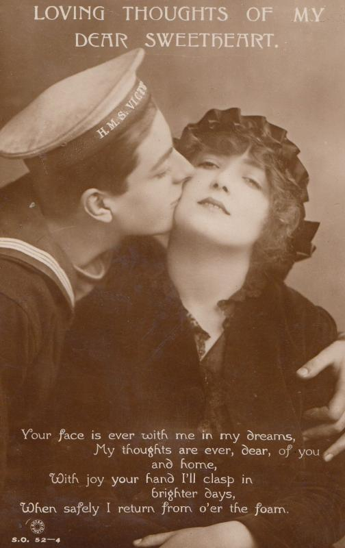 Sailor Romance Loving Thoughts Old Real Photo Songcard Postcard