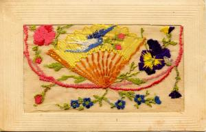 Embroidered Silk with Flap (Message Pocket) - Fan, Flowers, Bird
