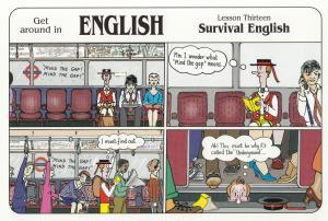 London Tourist Falls Into Mind The Gap Hole On Tube Train Comic Postcard