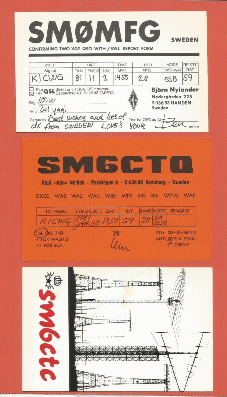 QSL AMATEUR RADIO CARDS – SWEDEN – 3 DIFFERENT CARDS – 1981 (3)
