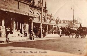 Calcutta India Sir Stucart Hogg Market Real Photo Antique Postcard JD228039