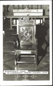 REAL PHOTO Black/White Postcard Mompesson's Chair Parish Church EYAM Derbyshire