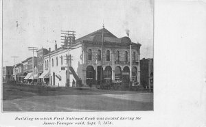 H11/ Northfield Minnesota Postcard 1908 First National Bank James Younger Raid