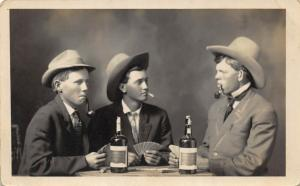 THREE MEN DRINKING AND GAMBLING-EARLY 1900'S RPPC REAL PHOTO POSTCARD