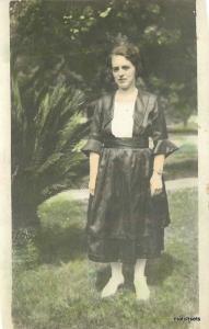 C-1910 Hand Tinted Woman wearing Dress RPPC real photo postcard 6277