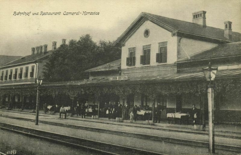 hungary, CAMERAL-MORAVICE, Railway Station and Restaurant (1915) Postcard