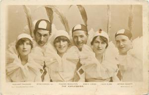 The Harlequins~Acrobatic Clown Troupe~Long Feather Hats~Signatures~1915 RPPC