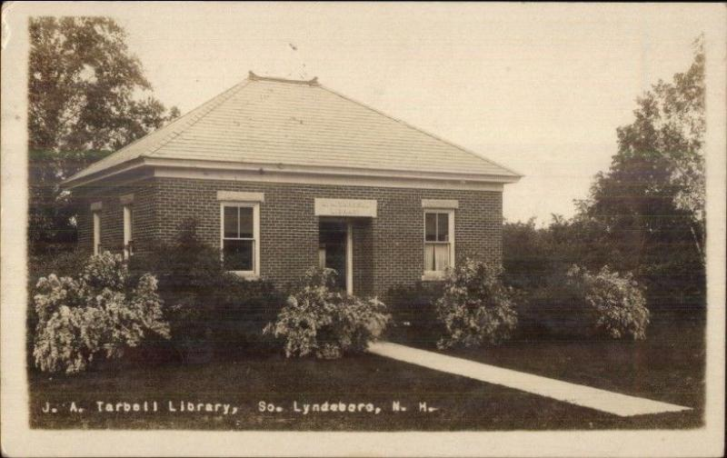 South Lyndeboro NH JA Tarbell Library c1920 Real Photo Postcard
