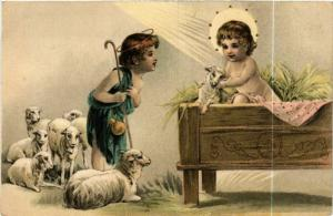 CPA The Little Jesus with a Shepherd Boy and Lambs ANGELS (777630)