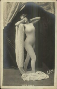 Beautiful Woman Semi Nude Body Suit SORTIUE DE BAIN Real Photo Postcard