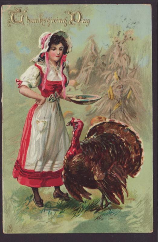 Thanksgiving Day,Woman,Turkey Postcard