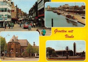 Netherlands Groeten uit Venlo River Harbour Boats Church Fountain Postcard