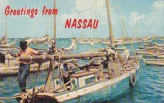 Bahamas Nassau Harbor Fishing Smacks Greetings From