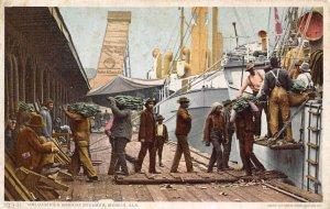 Unloading Banana Steamer African American Workers Mobile Alabama 1910c postcard