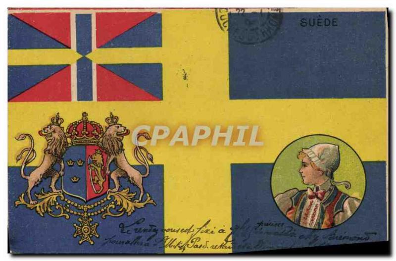 Old Postcard Flag Woman Sweden Sweden Leo