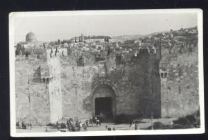 RPPC JERUSALEM ISRAEL DAMASCUS GATE REAL PHOTO POSTCARD NICE STAMPS