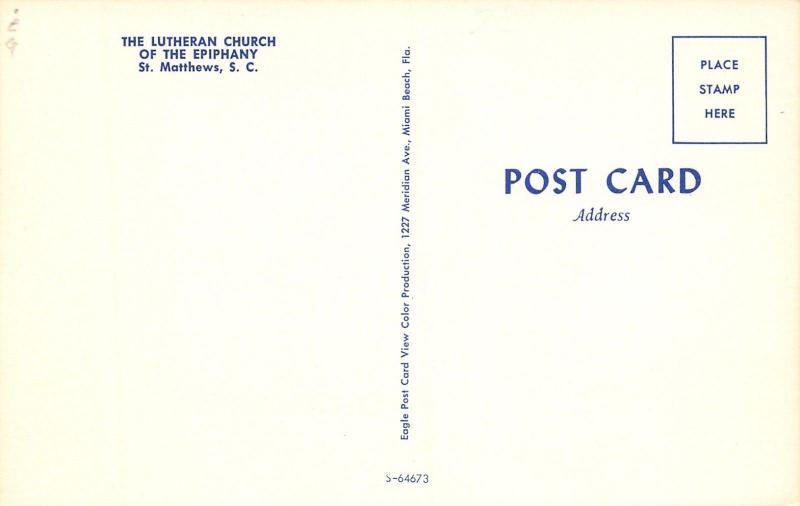 St Matthews South Carolina~The Lutheran Church of the Epiphany~1960s Postcard