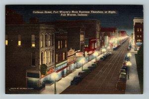Fort Wayne IN-Indiana,Calhoun St.,Business Dist. at Night, Cars, Linen Postcard