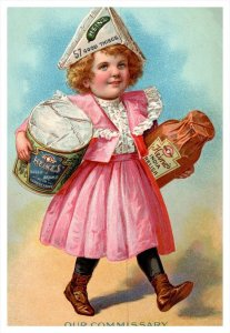 Heinz , Girl carring containers of Baked Beans, India Relish , paper hat