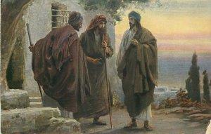 Postcard religious art biblical scene Rob Leinweber Jesus&the men from Emaus