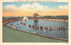 Interior of Liberty Heights Swimming Pool, Martinsville, VA ca 1940s Postcard