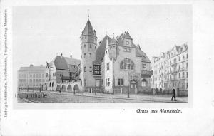 Mannheim Germany Turnhalle Exterior View Antique Postcard J77025